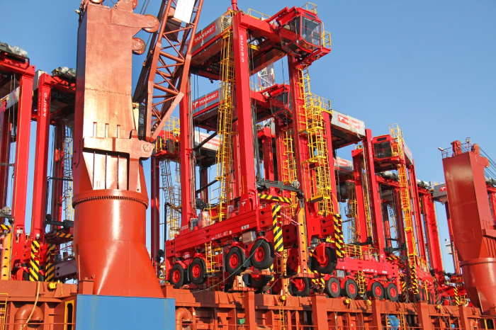 Close-up of the new straddles on board the heavylift vessel, BBC Texas, featured in Africa PORTS & SHIPS maritime news