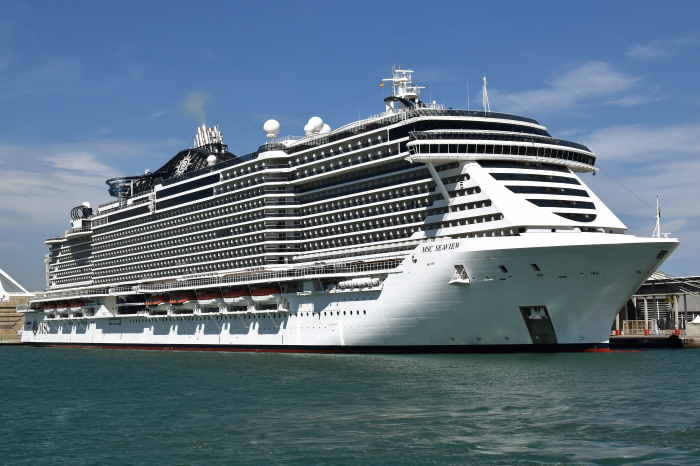 MSC Seaview seen here in Barcelona, Spain and photographed by Trevor Jones, featured in Africa PORTS & SHIPS maritime news