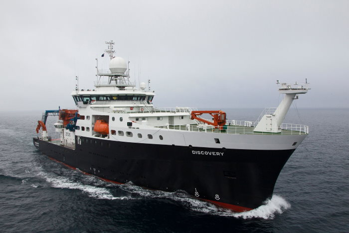 RRS Discovery at sea. Picture: National Oceanography Centre www.noc.ac.uk ©, featured in Africa PORTS & SHIPS maritime news