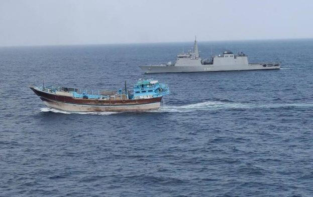 Indian Navy frigate INS Sunayna escorts a motorised dhow that is carrying WFP aid to Somalia in April, 2018, featured in Africa PORTS & SHIPS maritime news