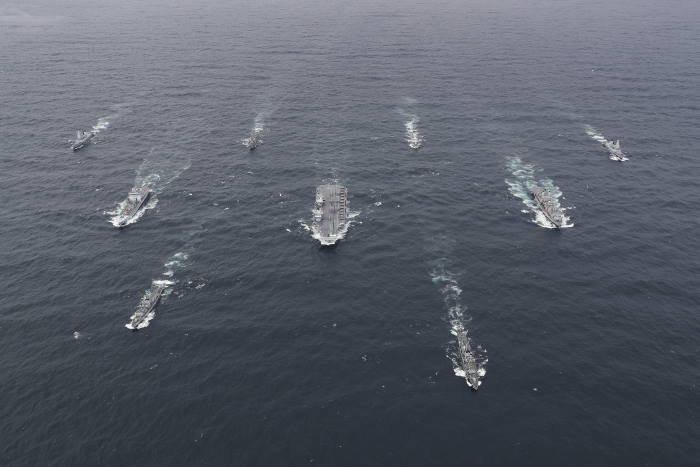 The full UK Carrier Strike Group assembled for the first time during Group Exercise 2020 on 4 October. Aircraft carrier HMS Queen Elizabeth leads a flotilla of destroyers and frigates from the UK, US and the Netherlands, together with two Royal Fleet Auxiliaries. It is the most powerful task force assembled by any European Navy in almost 20 years, featured in Africa PORTS & SHIPS maritime news