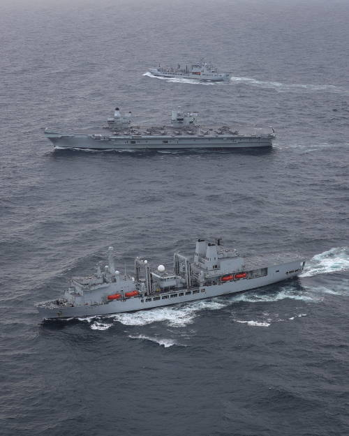 CAPTION 2: HMS Queen Elizabeth with RFA Tideforce and RFA Fort Victoria, featured in Africa PORTS & SHIPS maritime news
