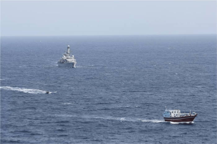 HMS Montrose hunting down the motorised dhow in the Arabian Sea, featured in Africa PORTS & SHIPS maritime news