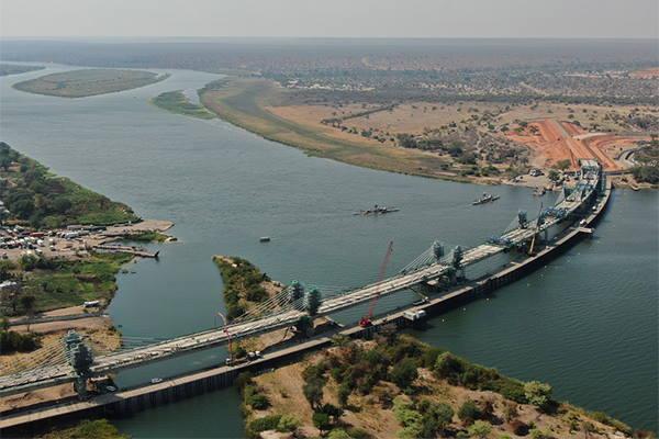 New Kazungula bridge opened, crossing the Zambezi river and linking Zambia (this side) with Botswana, featured in Africa PORTS & SHIPS maritime news