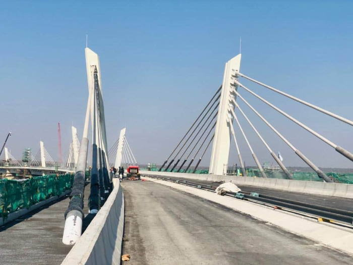 Kazungula bridge while still under construction, showing the towers and cables, featured in Africa PORTS & SHIPS maritime news