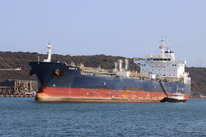 Marie S sailing from Durban, September 2020, poicture by Keith Betts, appearing in Africa PORTS & SHIPS maritime news