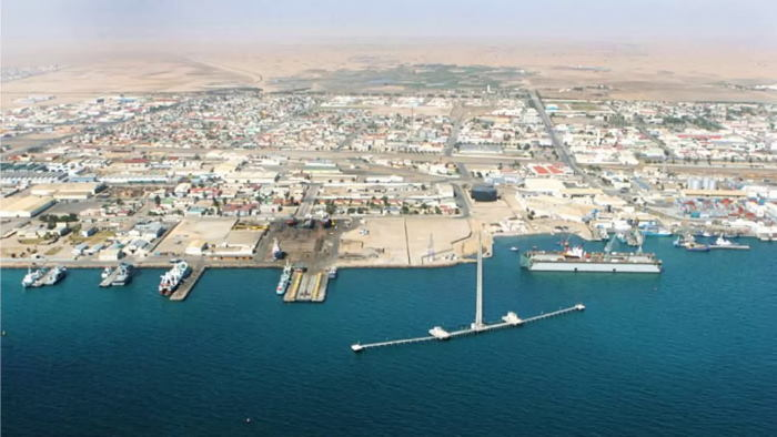 Aerial view of the port of a section of the port of Walvis Bay and the surrounding desert, featured in Africa PORTS & SHIPS maritime news