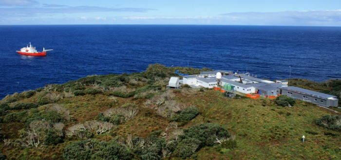 Gough Island and the South African weather station, with the SA Agulhas II offshore. Picture: courtesy AMSOL, featured in Africa PORTS & SHIPS maritime news