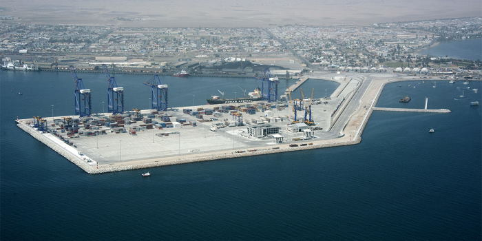 Walvis Bay Container Terminal , with small craft on the right, featured in Africa PORTS & SHIPS maritime news