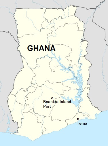 Ghana map with the location of the Boankra inland terminal, featured in Africa PORTS & SHIPS maritime news