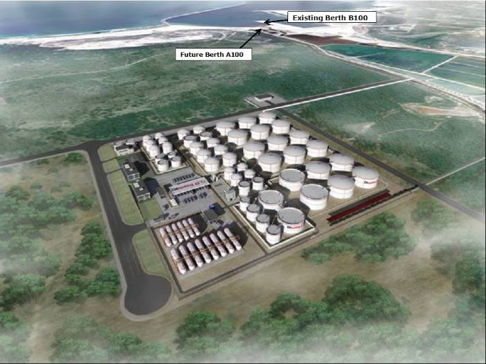 This was an artist's impression of what the proposed liquid bulk terminal would look like. Does the withdrawal of private enterprise mean that Transnet will have to take on its completion and continue with its operation? What effect does this mean for the existing termianl at nearby Port Elizabeth? Once more the port of Ngqura leaves a bucket full of questions - featured in Africa PORTS & SHIPS maritime news