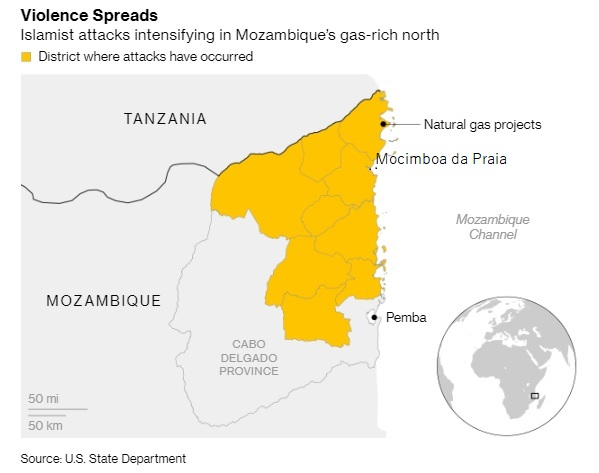 Cabo Delgado province, Mozambique where an insurgency involving Jihadist terrorists is taking place, with limited internatonal attention, featured in Africa PORTS & SHIPS maritime news