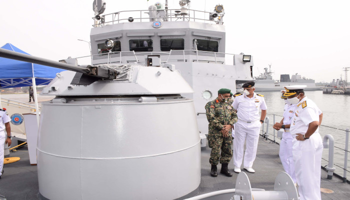 MNDF CGS Huravee being handed back to the Maldivian Coast Guard after the patrol ship underwent a refit in an Indian naval dockyard, featured in Africa PORTS & SHIPS maritime news