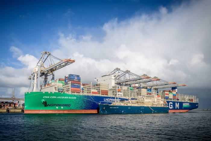 CMA CGM Jacques Saade a the port of Rotterdam taking LNG bunkers from the Gas Agility. Featured in Africa PORTS & SHIPS maritime news