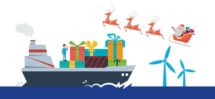Seafarers Christmas graphic appearing in Africa PORTS & SHIPS maritime news