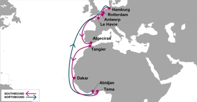 ONE's EWX service map Europe to West Africa, featured in Africa PORTS & SHIPS maritime news