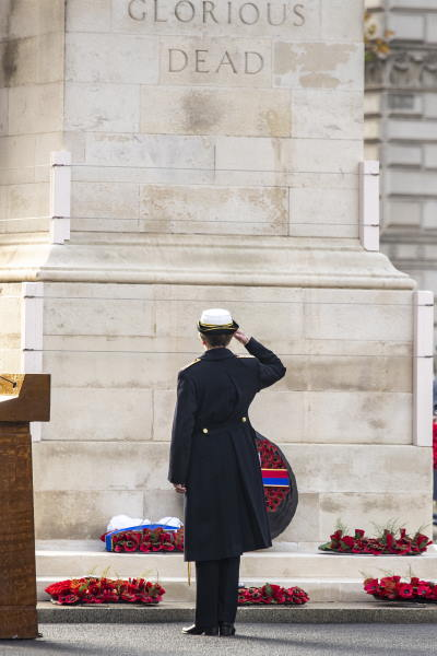 HRH The Princess Royal saluting the Cenotaph after she had laid her wreath. As an Admiral she is Chief Commandant for Women in the Royal Navy. She is also Patron of a number of naval charities. Picture: MoD Crown Copyright 2020 ©, featured in Africa PORTS & SHIPS maritime news