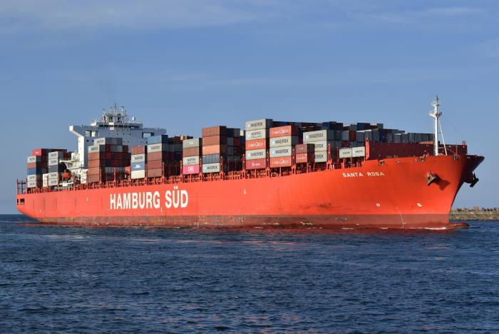 Hamburg Süd's container ship Santa Rosa, currently sailing for Maersk Line, seen here in Durban. Picture: Trevor Jones, featured in Africa PORTS & SHIPS maritime news