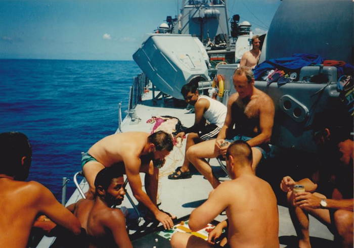 Crew of one of the strike craft relaxing in their ' off time' at sea, as featured in Africa PORTS & SHIPS maritime news