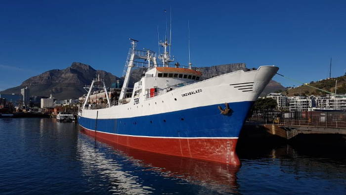 Freezer trawler Umzabalazo which was towed into Cape Town on Sunday morning. Picture: Iberconsa, featured in Africa PORTS & SHIPS maritime news