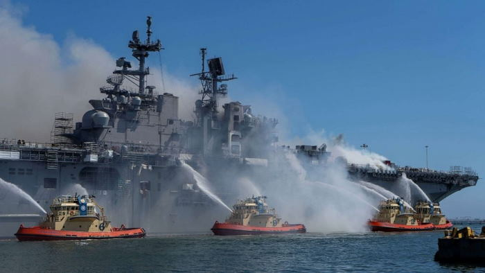 SS Bonhomme Richard on fire on the quayside at San Diego. US Navy picture, featured in Africa PORTS & SHIPS maritime news