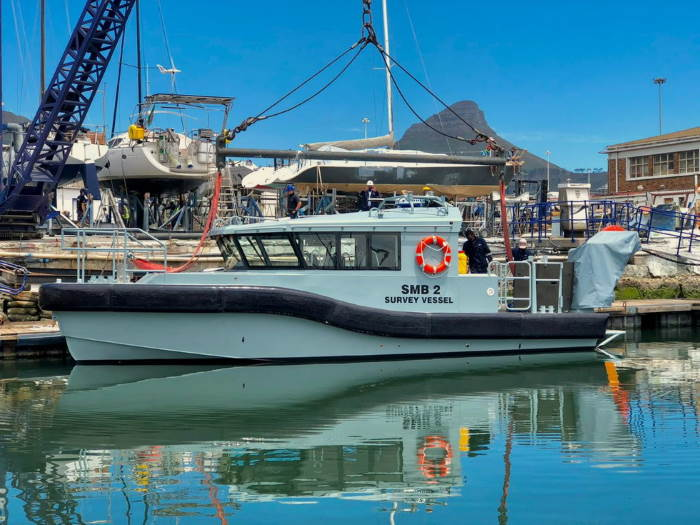 The second of three SMBs in support of the new hydrographic survey vessel now under construction in Durban, has been launched at Cape Town. featuring in Africa PORTS & SHIPS maritime news