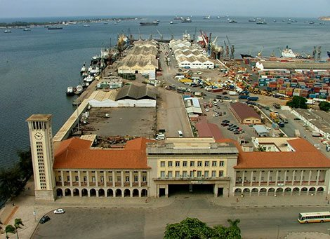 Port Authority building and general port scene at Luanda, featured in Africa PORTS & SHIPS maritime news