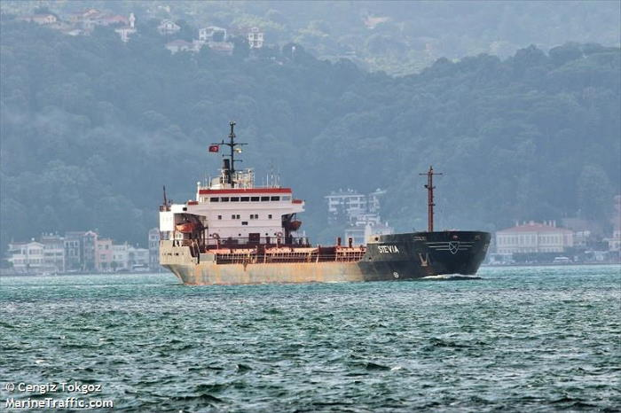 General cargo ship Stevia, pirated on 16 December 2020. Picture: Cengiz Tokoz / MaritneTraffic, featured in Africa PORTS & SHIPS maritime news