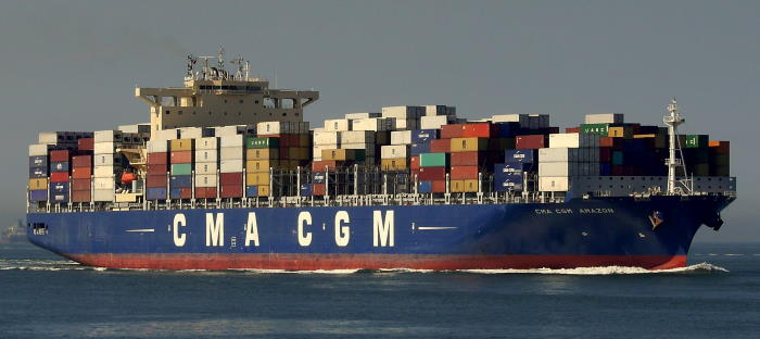 CMA CGM Amazon, now renamed in SAECS service as Akadimos (IMO 9706308). Picture: Maritime Connector and featuring in Africa PORTS & SHIPS maritime news