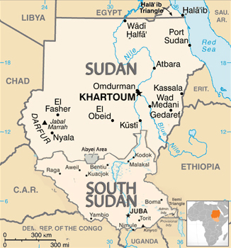 Sudan map appearing in Africa PORTS & SHIPS maritime news
