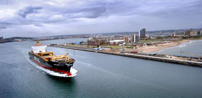 Port of Durban entrance channel with one of the many MSC ships involved in the South African trades, featured in Africa PORTS & SHIPS maritime news