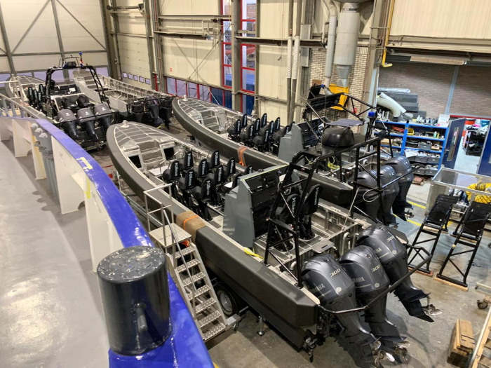 De Haas Fast Interceptor attack boats under construction. Eight are to be deployed in the Lagos Anchorage this week, featured in Africa PORTS & SHIPS maritime news
