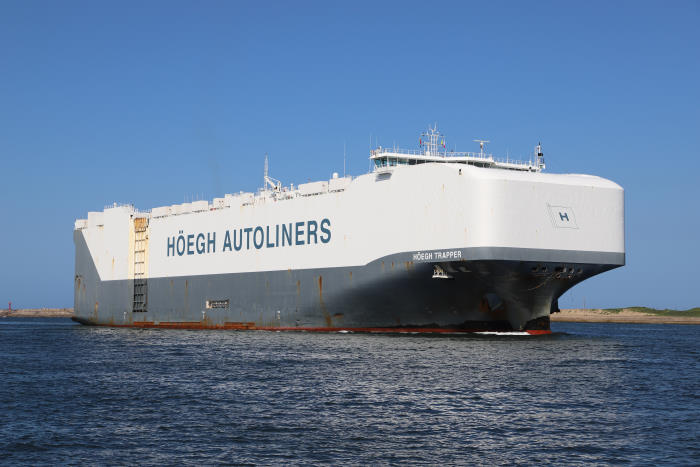 The RoRo car carrier HÖEGH TRAPPER, a regular caller at Durban, is shown here entering the harbour earlier this year. Picture: Keith Betts