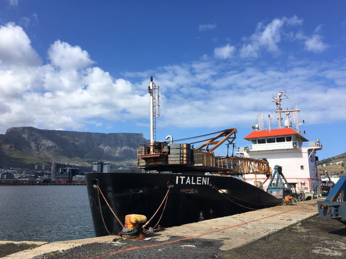 The departmental dredger ITALENI at Cape Town in November 2019 , featured in Africa PORTS & SHIPS maritime news
