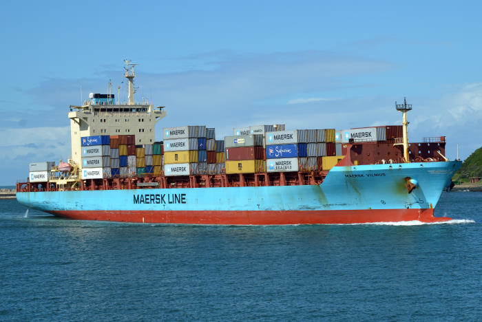 Maersk Vilnius entering Durban in 2016 - the ship is a regular caller along the southern and western African coast. Picture: Terry Hutson, as featured in Africa PORTS & SHIPS maritime news