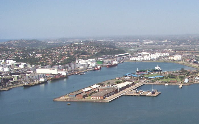 The Island View Liquid Bulk Basin on the Bluff side of the port, with the Salisbury Island Naval Base in the centre foreground, featured in Africa PORTS & SHIPS maritime news