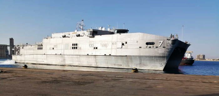 USNS Carson City coming alongside and featured in report in Africa PORTS & SHIPS maritime news