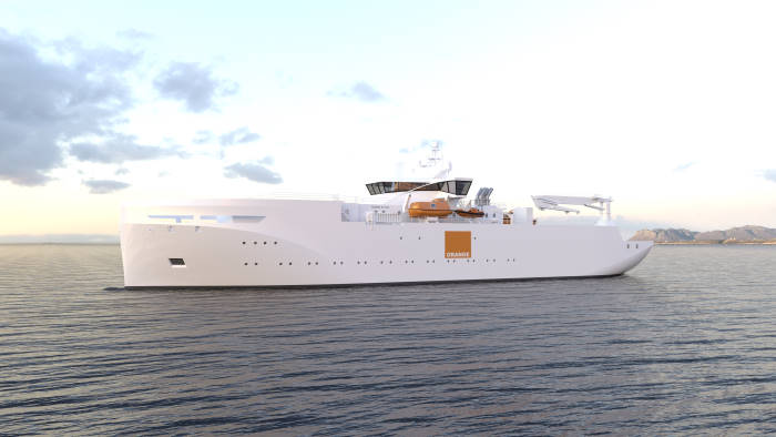 Cable repair vessel design for Orange Marine by VARD of Norway. Of 10 metres loa, beam 18.8 metres, as featured in Africa PORTS & SHIPS maritime news