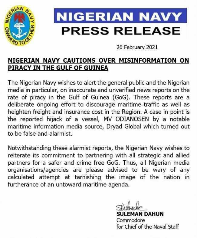 Nigerian Navy's response to reports of pracy attacks in West Africa, reported here in Africa PORTS & SHIPS maritime news