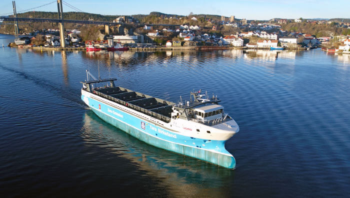 The VARD designed autonomous vessel Yara Birkeland in service. Picture Shipspotting/Tomas Ostberg, AS FEATURED IN aFRICA ports & ships maritime news