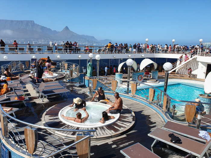 MSC Orchestra in Table Bay with Table Mountain in the background
