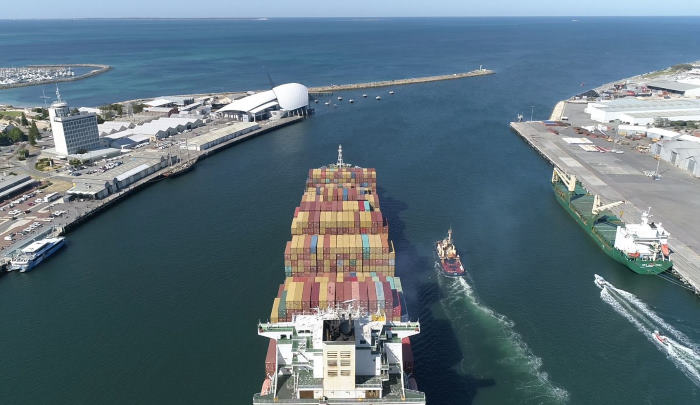 Drone providing space awareness imagery to the pilot from above and behind the funnel - in line with foreward mast, featured Africa PORTS & SHIPS maritime news