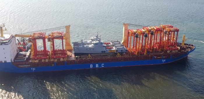 The new straddle carriers arriving in Durban onboard the BBC Plata. Featured in Africa PORTS & SHIPS maritime news