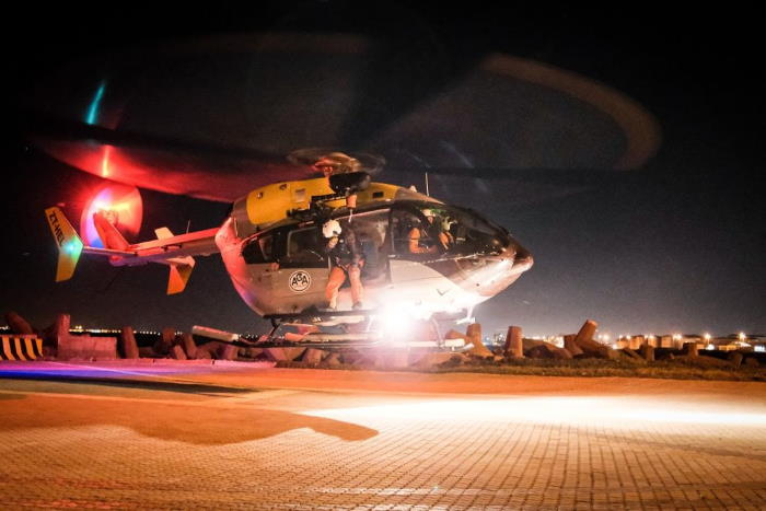 AGA helicopter used in the rescue of an injured seaman from a ship over 60 miles from Cape Point. Picture: NSRI, featured in Africa PORTS & SHIPS maritime news