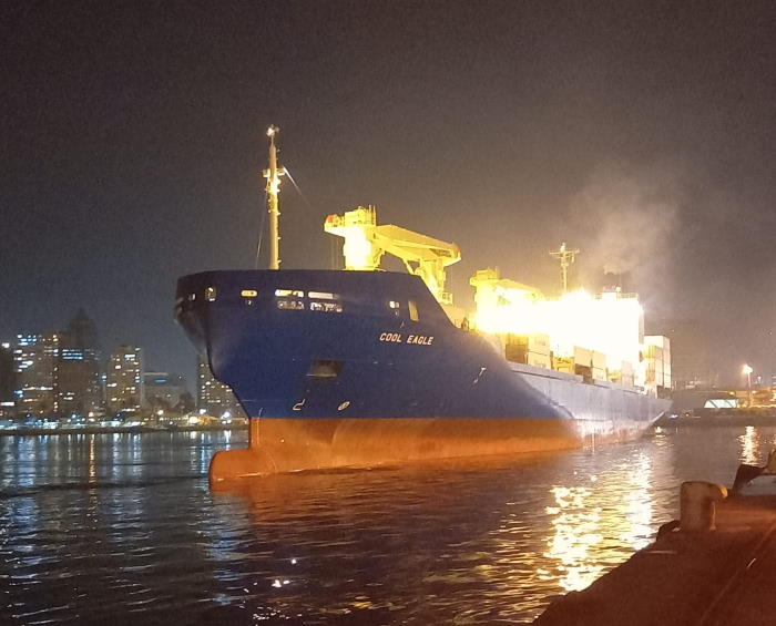 Cool Eagle entered port on Thursday night at around 21h00, before being escorted to P berth where the ship will load citrus fruit. Picture courtesy: TPT, featured in Africa PORTS & SHIPS maritime news