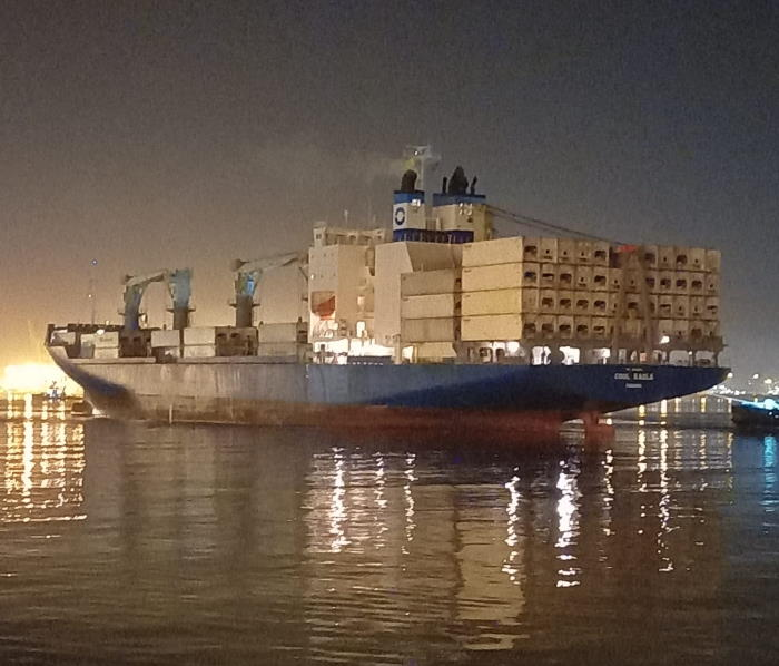 Cool Eagle in Durban Harbour, with the lights of the city lighting up beyond her. Picture courtesy: FPT and featured in Africa PORTS & SHIPS maritime news