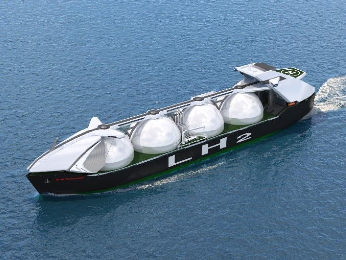 Cargo containment system for large liquefied hydrogen carrier, as appearing in Africa PORTS & SHIPS maritime news