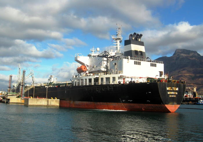 Meltemi at the tanker berth discharging her cargo, featured in Africa PORTS & SHIPS maritime news
