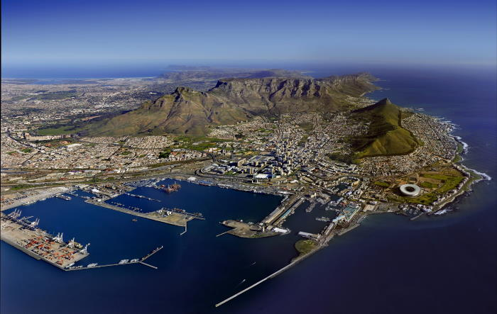 Cape Town Aerial, Picture by Alain Proust / Mackay Marine, featured in Africa PORTS & SHIPS maritime news