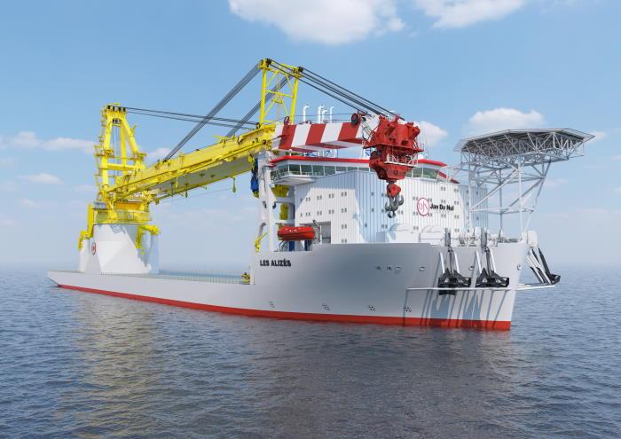 Computer-generated image of the new Jan de Nul new crane vessel, Les Alizés